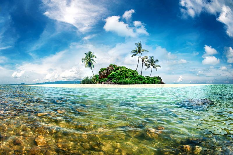 Exotic paradise island with palms and turquoise crystal clear sea. Amazing fantasy scenery island stock photos