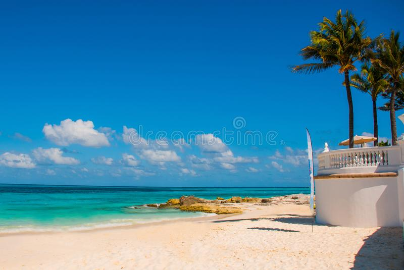 Exotic Paradise. Tropical Resort. Caribbean sea Jetty near Cancun. Mexico beach tropical in Caribbean royalty free stock image