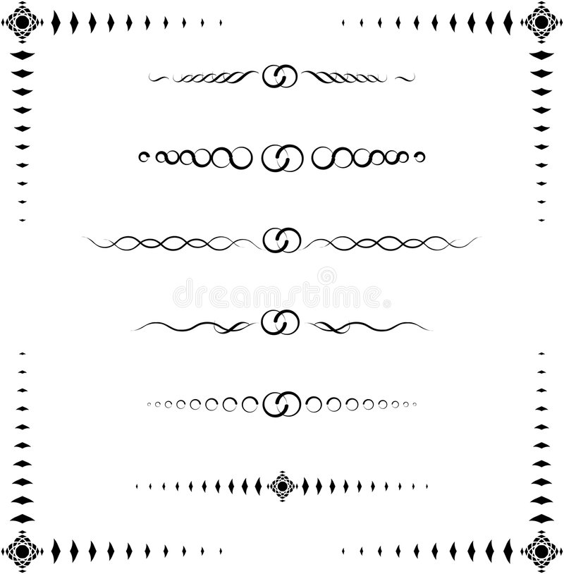 Exotic Paragraph Dividers. A collection of 6 ornamental paragraph dividers and a frame, black & white, raster illustration (vector format is also available for royalty free illustration