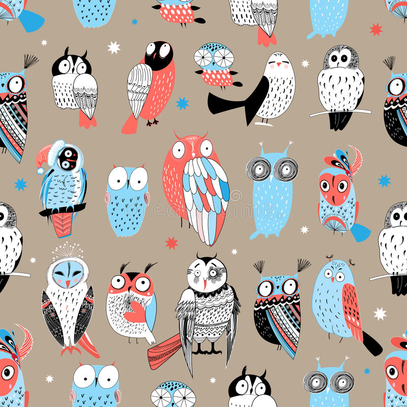 Exotic pattern with different owls stock illustration