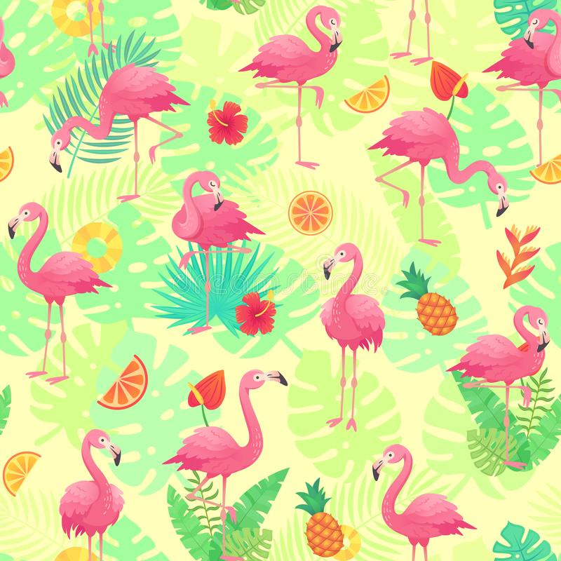Exotic pink flamingos, tropical plants and jungle flowers monstera and palm leaves. Tropic flamingo cartoon seamless stock illustration