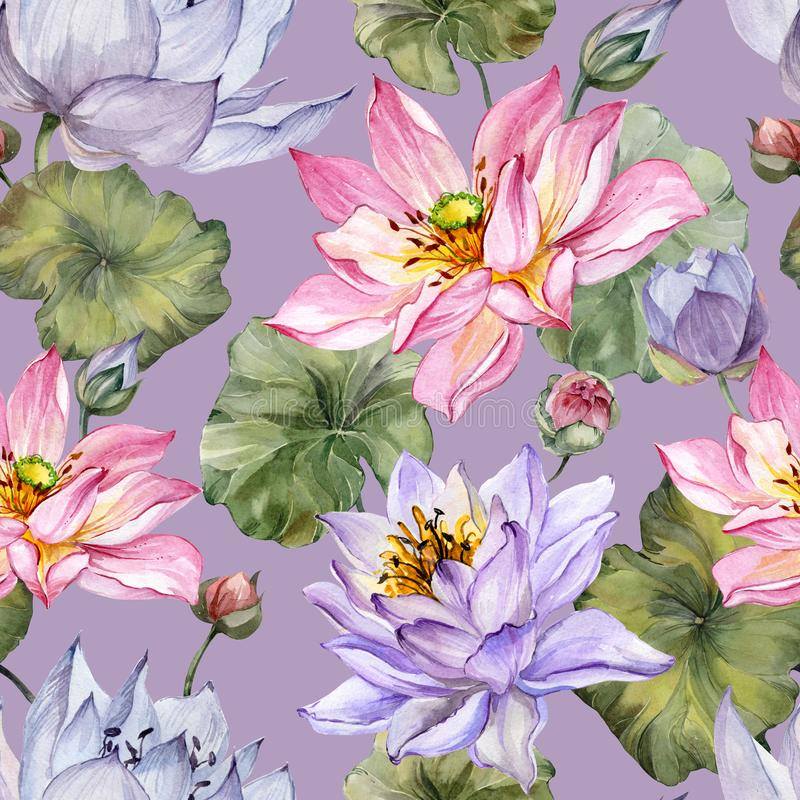 Exotic pink and purple lotus flowers with leaves on lilac background. Beautiful floral seamless pattern. Hand drawn illustration. Watercolor painting. Design stock illustration