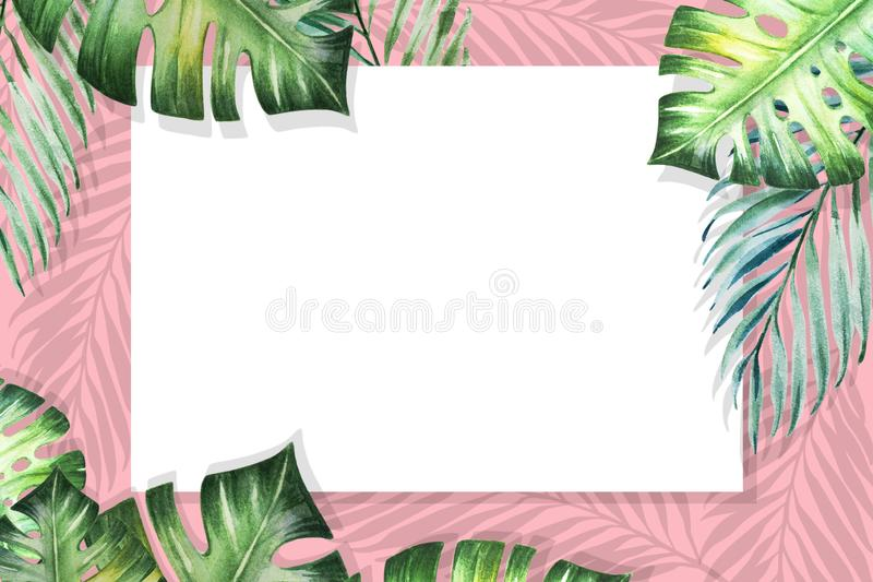 Beautiful tropical leaves border frame. Monstera, palm. Watercolor painting. White paper on pink backdrop. royalty free illustration