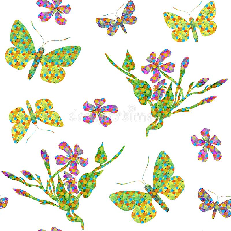 Exotic seamless pattern with flowers and butterflies vector illustration