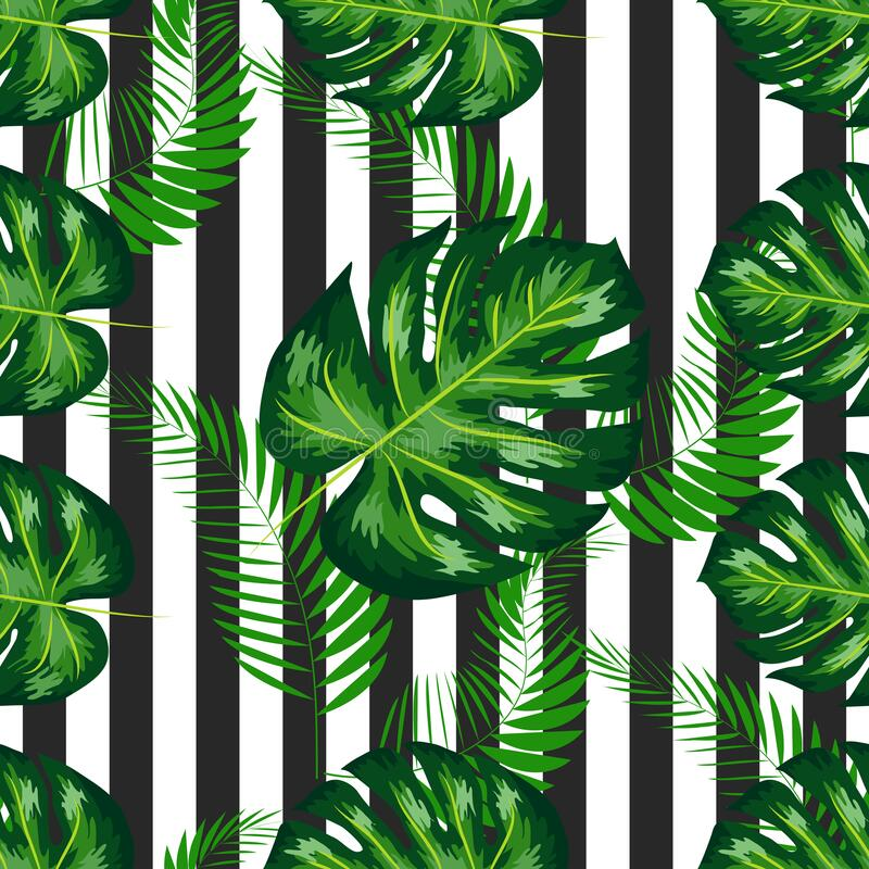Free Exotic Seamless Pattern With Monstera Palm Leaves. Tropical Hawaiian Textile Botanical Design. Floral Backdrop On The Royalty Free Stock Photo - 217133195