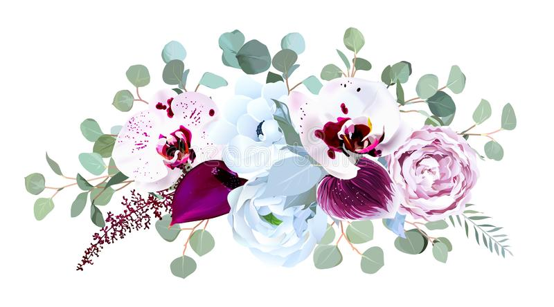Exotic speckled orchid, anthurium, purple rose, anemone, eucalyptus. Silver and dusty blue greenery vector design bouquet. Wedding seasonal flowers.Floral stock illustration