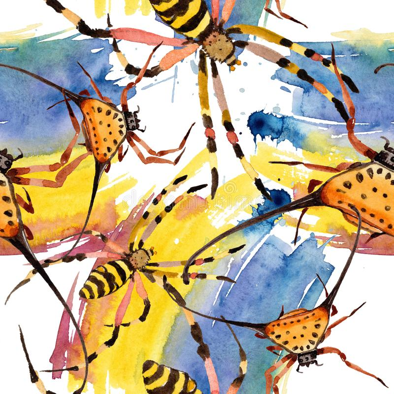 Exotic spiders wild insect in a watercolor style. Seamless background pattern. royalty free illustration