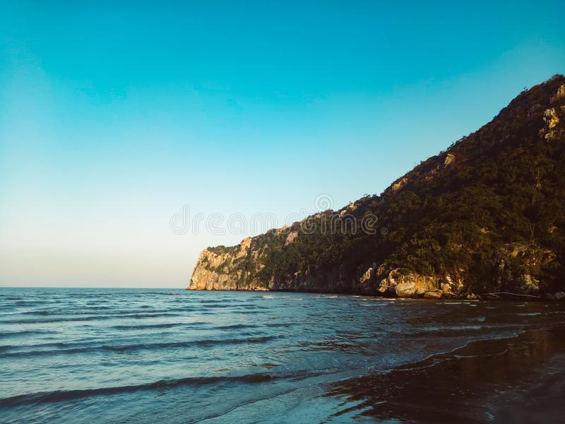 Exotic spring view of Mountain and beach landscape. Prachuap Khiri Khan Province of Thailand stock photography