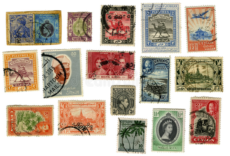 Exotic Stamps from around the World royalty free stock photo