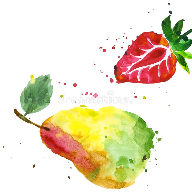 Exotic strawberry and pear wild fruit in a watercolor style isolated. stock illustration
