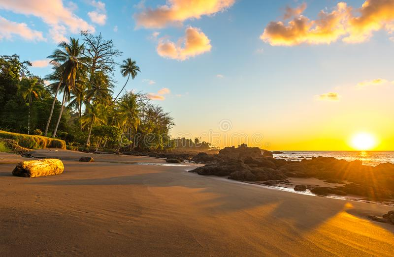 Exotic Sunset in Corcovado National Park, Costa Rica stock photography