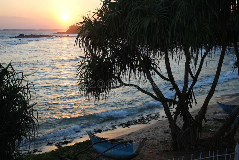Exotic sunset on Sri Lanka stock image