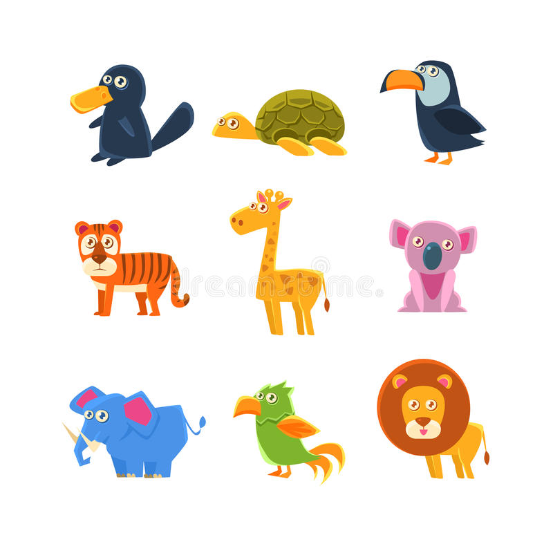 Exotic Toy Fauna Set. Exotic Animals Fauna Set Of Silly Childish Drawings Isolated On White Background. Funny Animal Colorful Vector Stickers Set vector illustration