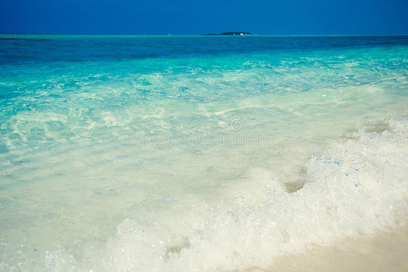 Exotic tropical beach. Summer vacation and tourism, popular destination, luxury travel concept. Maldives, Indian Ocean. Seascape w stock photo