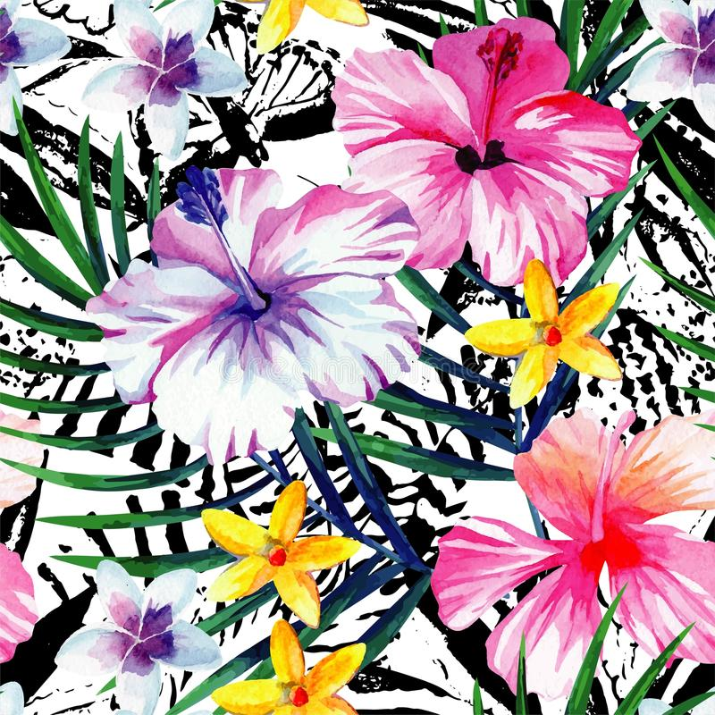 Exotic tropical floral watercolor seamless background stock illustration