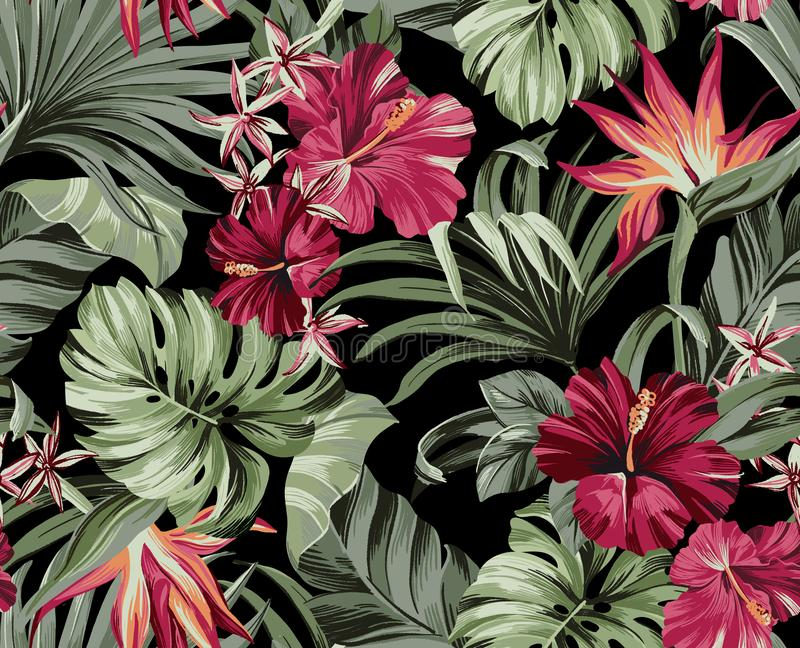 Exotic tropical flowers pattern  in trendy colors. Exotic tropical flowers in trendy colors  artwork for tattoo, fabrics, souvenirs, packaging, greeting cards stock illustration