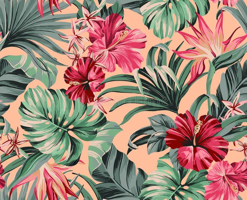 Exotic tropical flowers pattern  in trendy colors. Exotic tropical flowers in trendy colors  artwork for tattoo, fabrics, souvenirs, packaging, greeting cards vector illustration