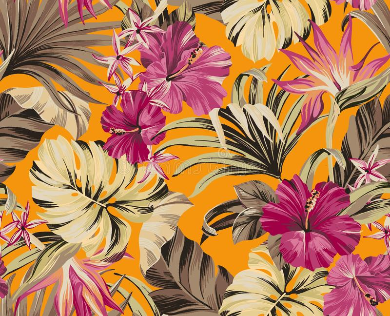 Seamless pattern Exotic tropical flowers in trendy colors stock photos
