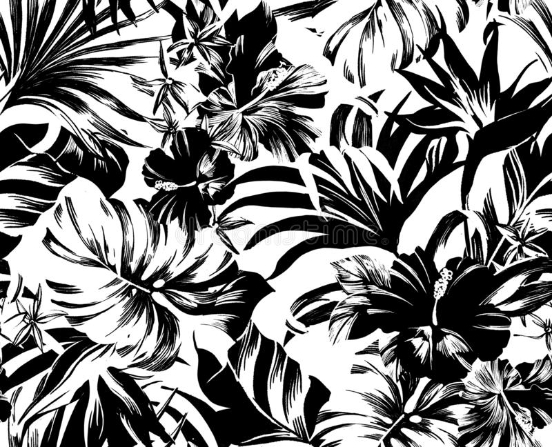 Seamless pattern Exotic tropical flowers in trendy colors stock photo