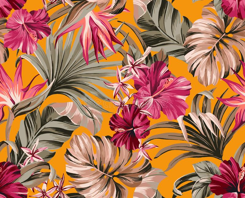 Seamless pattern Exotic tropical flowers in trendy colors royalty free stock photo
