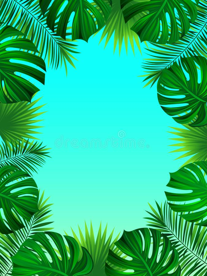 Exotic tropical frame with jungle plants, palm leaves, monstera and place for your text. Nature background. Vector stock illustration
