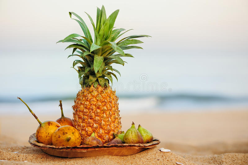 Exotic tropical fruits stock photography