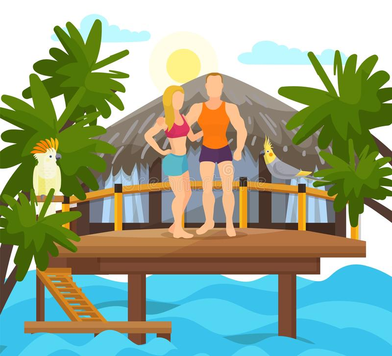 Exotic tropical island vacation loved couple family honeymoon vector illustration. Couple on vacay swimwear standing on. Terrace, seawater in front of bungalow vector illustration