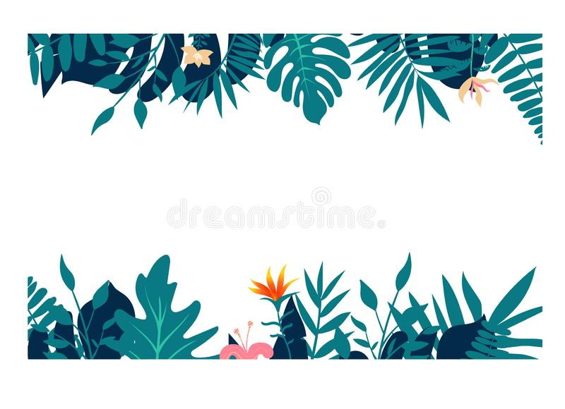 Exotic tropical jungle rainforest bright green navy turquoise palm tree and monstera leaves border frame template on stock illustration
