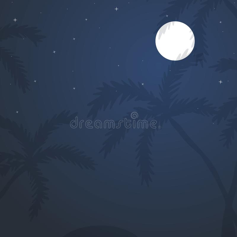 Exotic tropical landscape with moon night sky, palm trees royalty free illustration