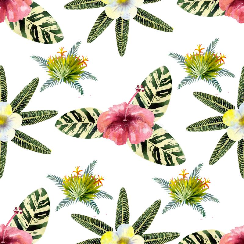 Exotic tropical leaves. Seamless pattern on white isolated background. Fashion beach art print Wallpaper. Watercolor illustration. Exotic tropical leaves royalty free illustration