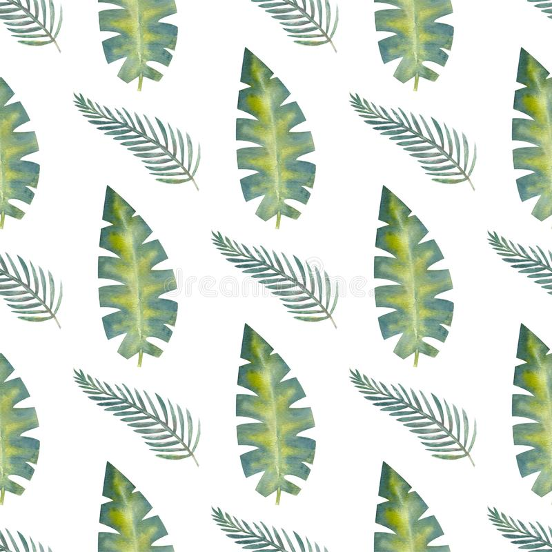 Exotic tropical leaves. Seamless pattern on white isolated background. Fashion beach art print Wallpaper. Watercolor illustration. Exotic tropical leaves stock illustration