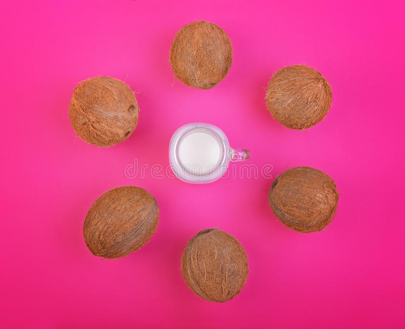 Exotic tropical nuts with coconut milk on a bright pink background, top view. Summer fruit of coconuts. Nutritious vegan diet. royalty free stock photo