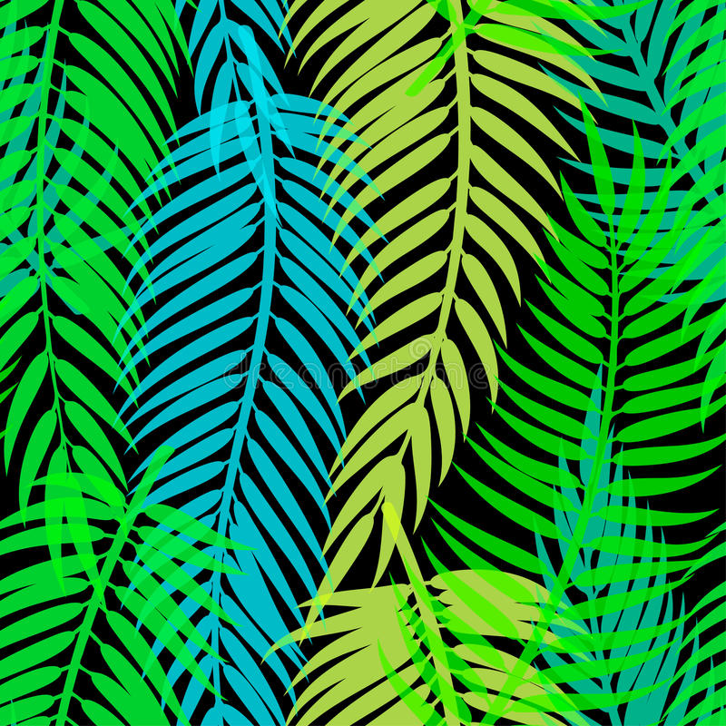 Exotic tropical palm leaves. Seamless abstract vector pattern. Exotic tropical palm leaves. Seamless abstract vector pattern royalty free illustration