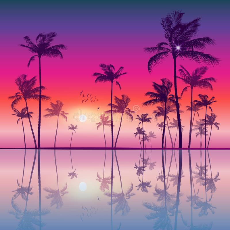Exotic tropical palm trees at sunset or sunrise, with colorful vector illustration