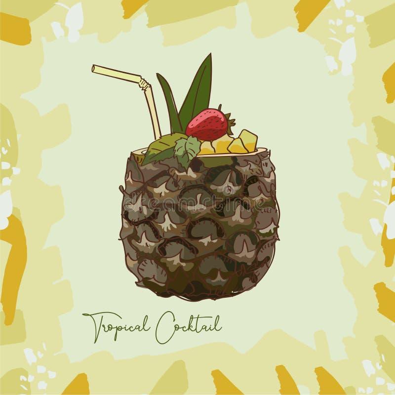 Exotic Tropical or Pina Colada summer cocktail illustration. Alcoholic bar drink hand drawn vector. Pop art. Exotic Tropical or Pina Colada fresh tropical summer stock illustration