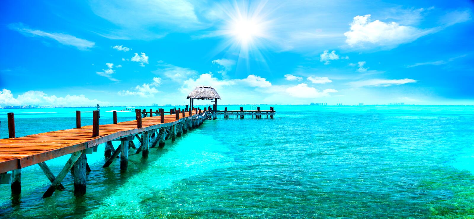 Exotic tropical resort. Jetty near Cancun, Mexico. Travel and vacations concept stock photos
