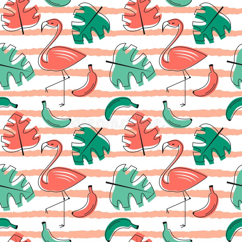 Exotic tropical seamless vector pattern with bird flamingo, palm leaves and flowers trendy living coral background vector illustration