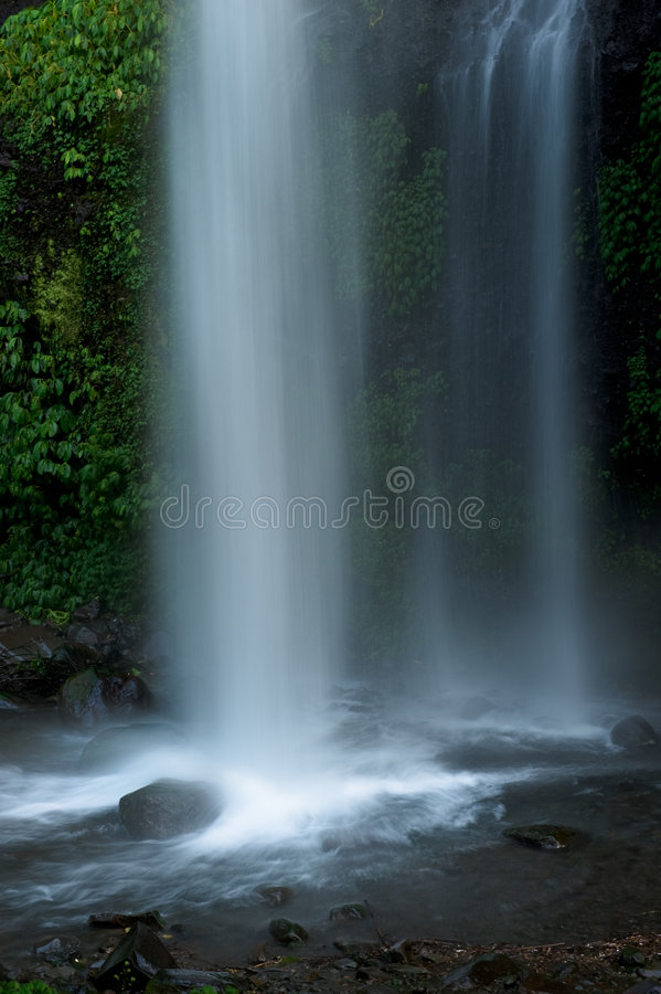 Exotic tropical waterfall in rainforest stock photography