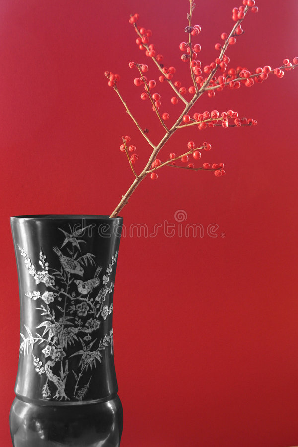 Download Exotic Vase With Red Berries Stock Photo - Image: 445998