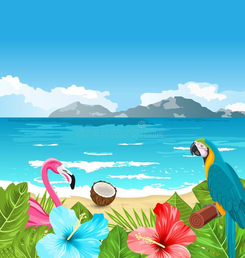 Download Exotic Wallpaper With Parrot Ara Pink Flamingo Stock Vector