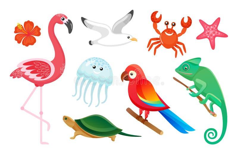 Exotic Wild Birds and Animals, Summer Symbols vector illustration