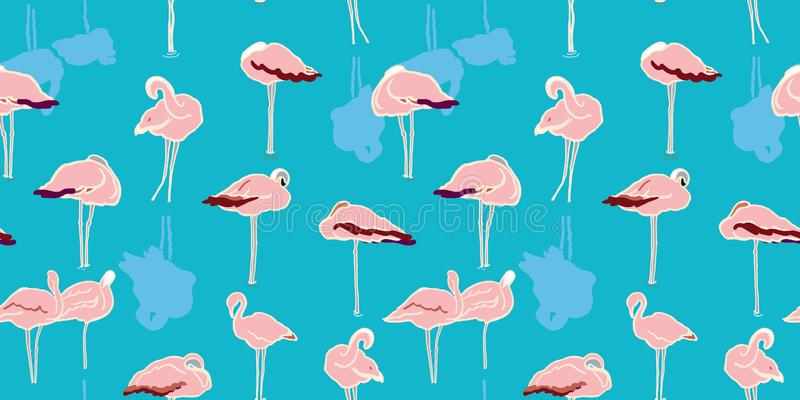 Exotic wildlife flamingo lagoon pattern. Exotic wildlife flamingo lagoon pattern for nature and bird lovers. Simple yet elegant hand drawn flamingo, in pastel vector illustration