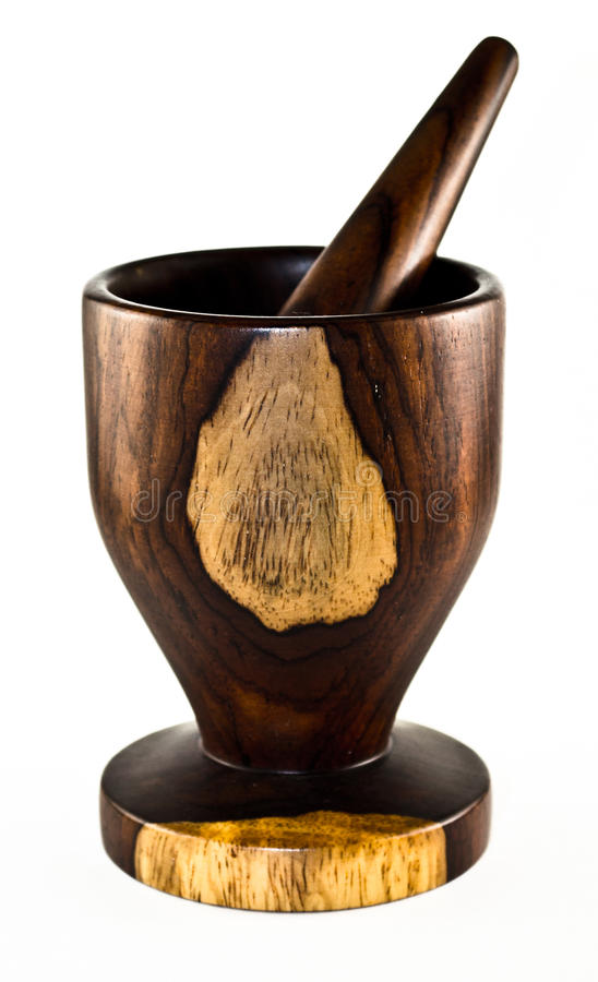 Exotic Wood Mortar And Pestle Stock Image