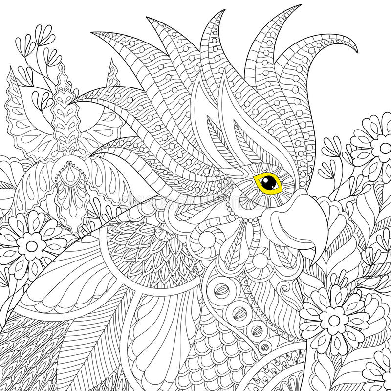 Exotic zentangle cockatoo parrot for adult anti stress coloring. Pages, book, bird head in tropical flowers for art therapy, greeting card. Hand drawn patterned royalty free illustration