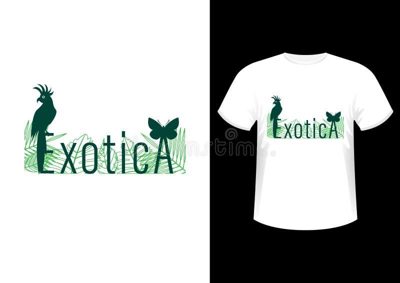 Exotica、时髦的时兴的设计口号、标志、商标、图表和印刷品在T恤杉 向量例证