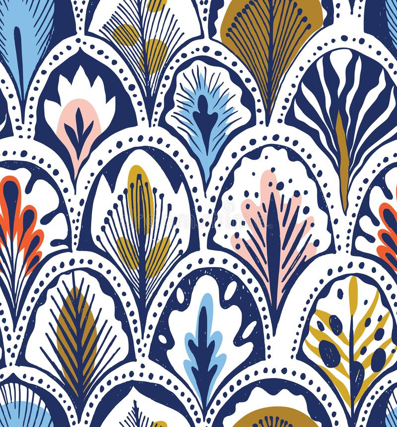 Exotisch blauwgroen veerpatroon royalty-vrije illustratie