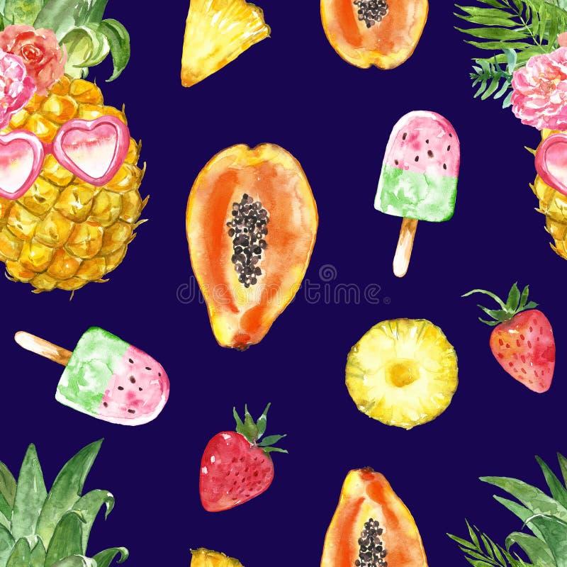 Exotisch de vruchten van de waterverfzomer naadloos patroon op blauwe achtergrond Hawaiiaanse stranddruk met smakelijke desserts stock illustratie
