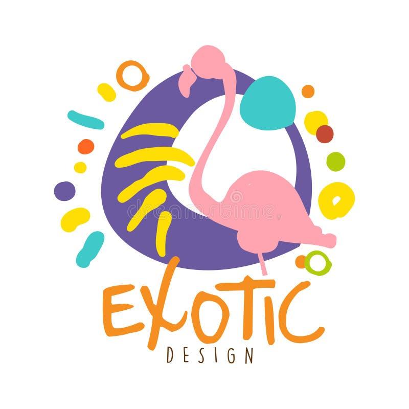 Exotisch embleemontwerp met flamingovogel, de kleurrijke hand getrokken vectorillustratie van de de zomerreis royalty-vrije illustratie
