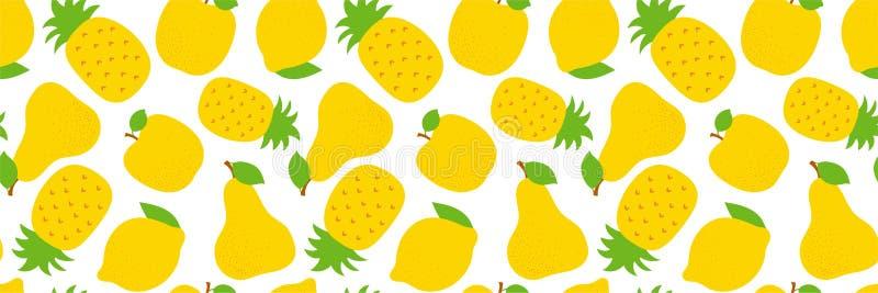 Exotisch fruit naadloos patroon Zoete ananas, peer en appel Gele citroen Manierontwerp Voedseldruk voor kleding, textiel, royalty-vrije illustratie