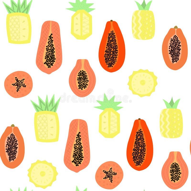 Exotisch naadloos patroon met abstracte papaja en ananassen stock illustratie